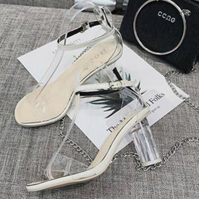 KEITH-WILL時尚鞋館 時尚舒適透明粗跟鞋-米