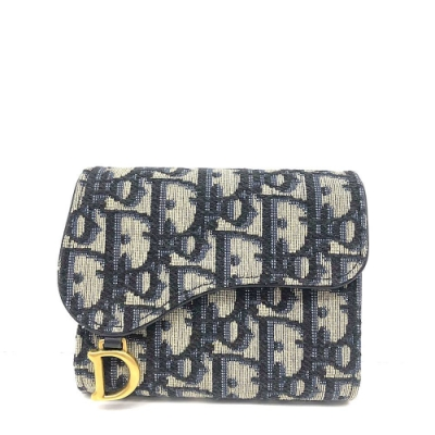 Dior saddle 經典D雙釦OBLIQUE緹花三折短夾