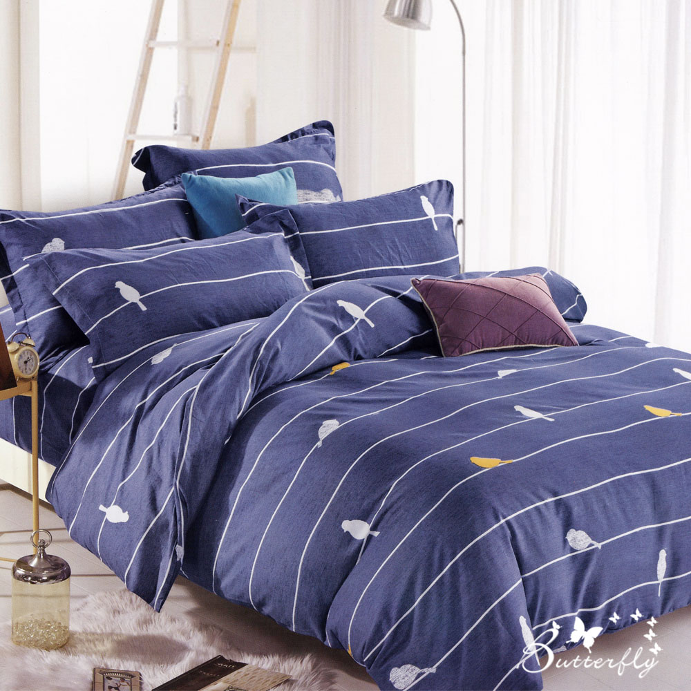 BUTTERFLY-台製柔絲絨加大雙人薄式床包枕套三件式-雀秘花間