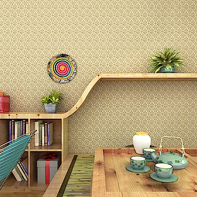 半島良品 防水PVC自黏牆紙45x200cm-歐式花朵(金)