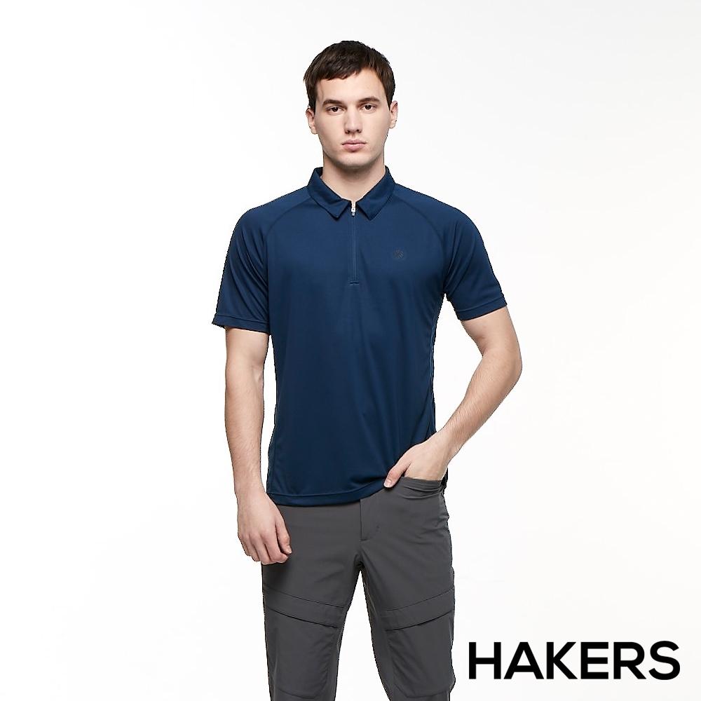 【HAKERS 哈克士】男 吸濕排汗 POLO衫(墨藍)