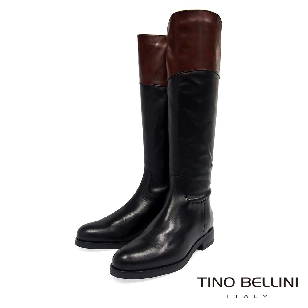 Tino Bellini 英姿瀟灑拼色長靴_黑