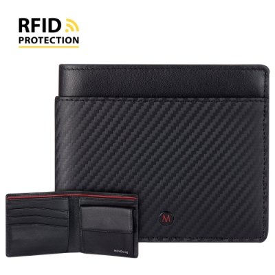 MONDAINE 瑞士國鐵 蘇黎世系列 RFID防盜 8卡零錢包短夾 - 碳纖維紋