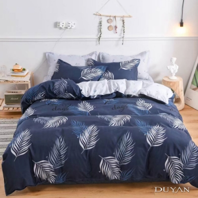 DUYAN竹漾 MIT 天絲絨-雙人床包被套四件組-初光繁葉