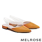 低跟鞋 MELROSE 質感簡約羊皮拼接透明後繫帶低跟鞋-黃