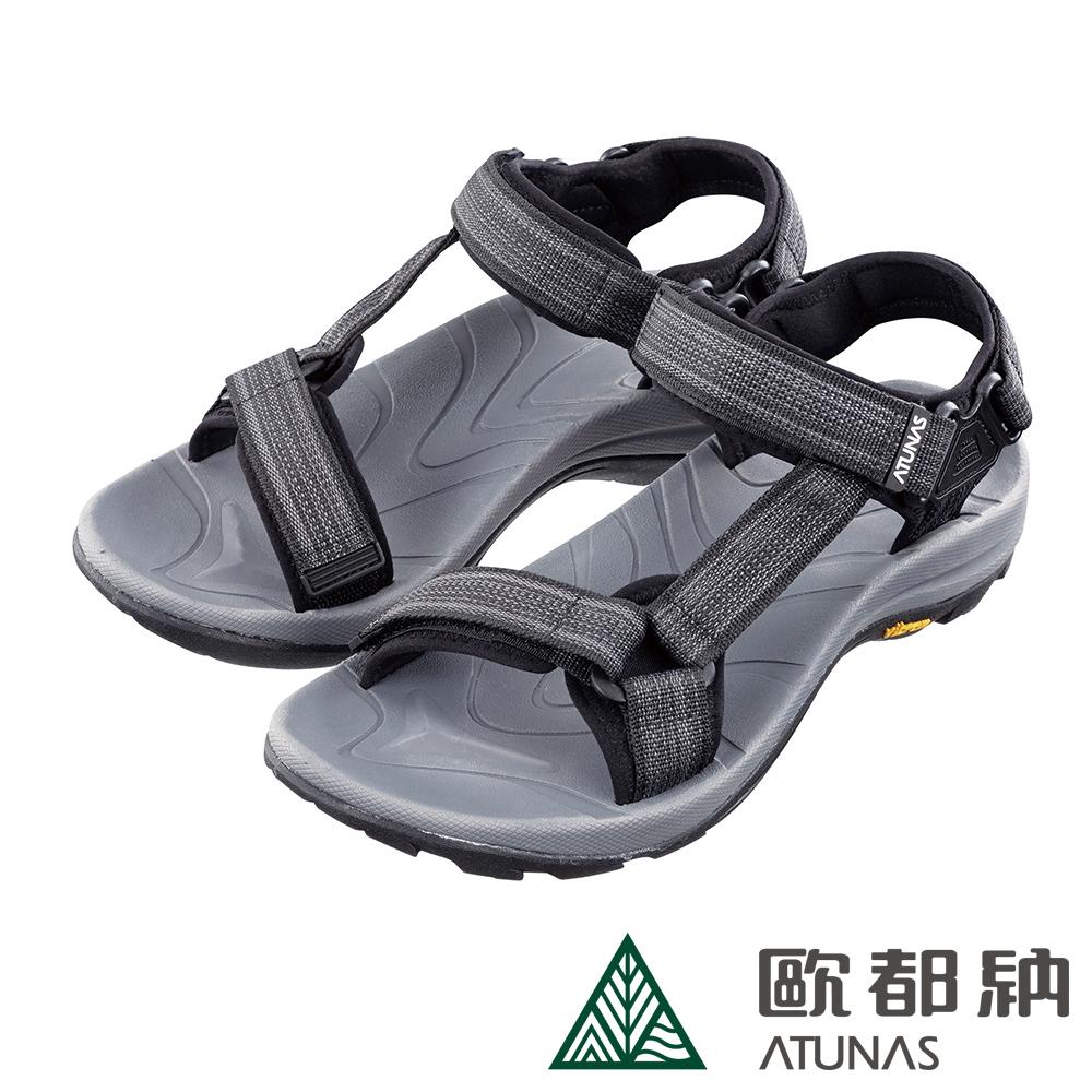 【ATUNAS 歐都納】男款黃金大底抑菌減震耐磨輕量織帶涼鞋GC-1817麻黑