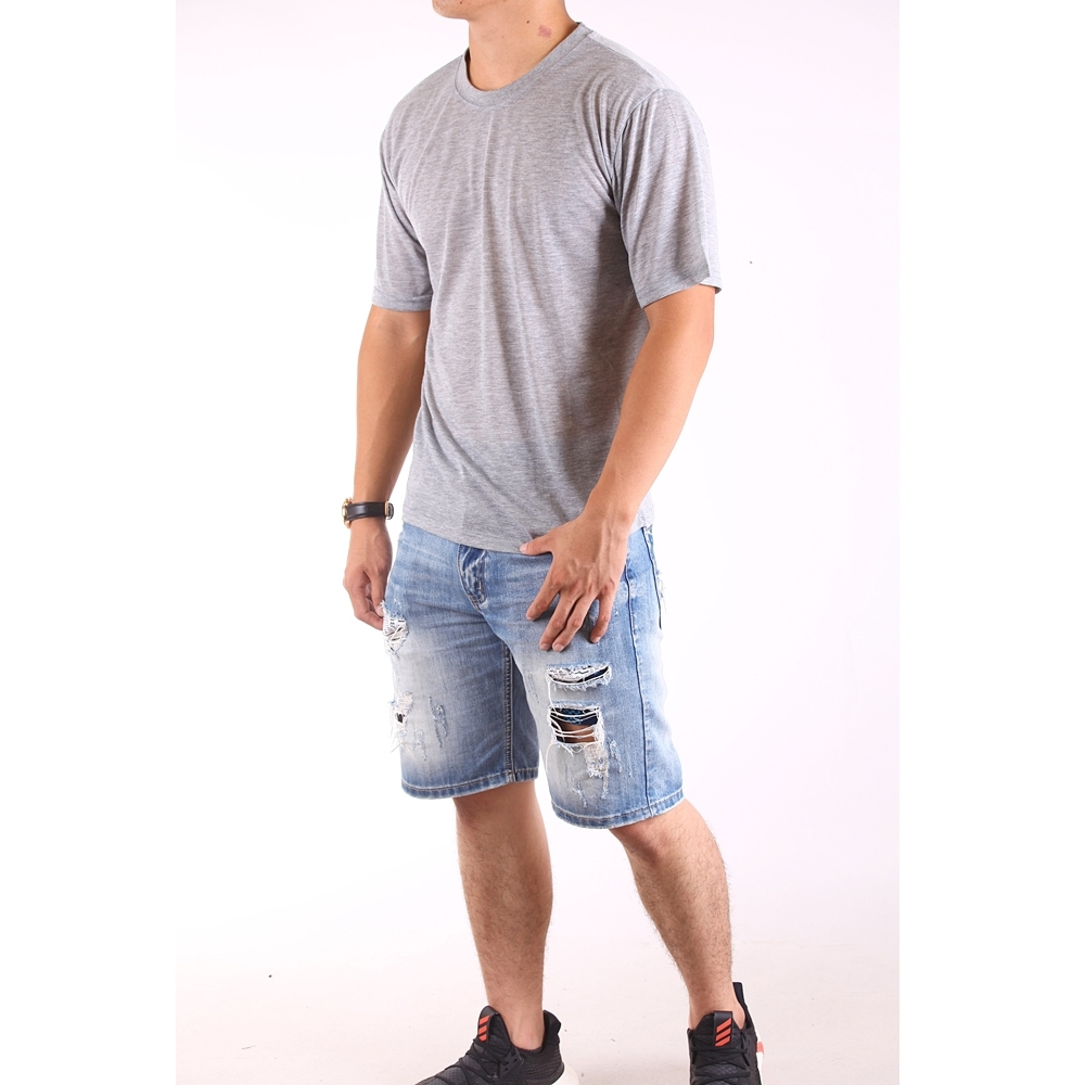 CS衣舖 台灣製造 速乾棉 吸濕排汗 透氣 短袖T恤 情侶T 五色 (淺灰+天空藍)