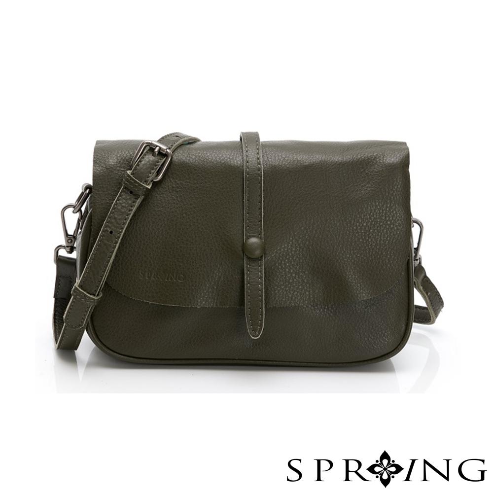 SPRING-經典牛皮系列小方包-橄欖綠