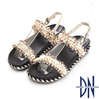 DN 夏日甜心 華麗珍珠編織一字造型涼鞋-米