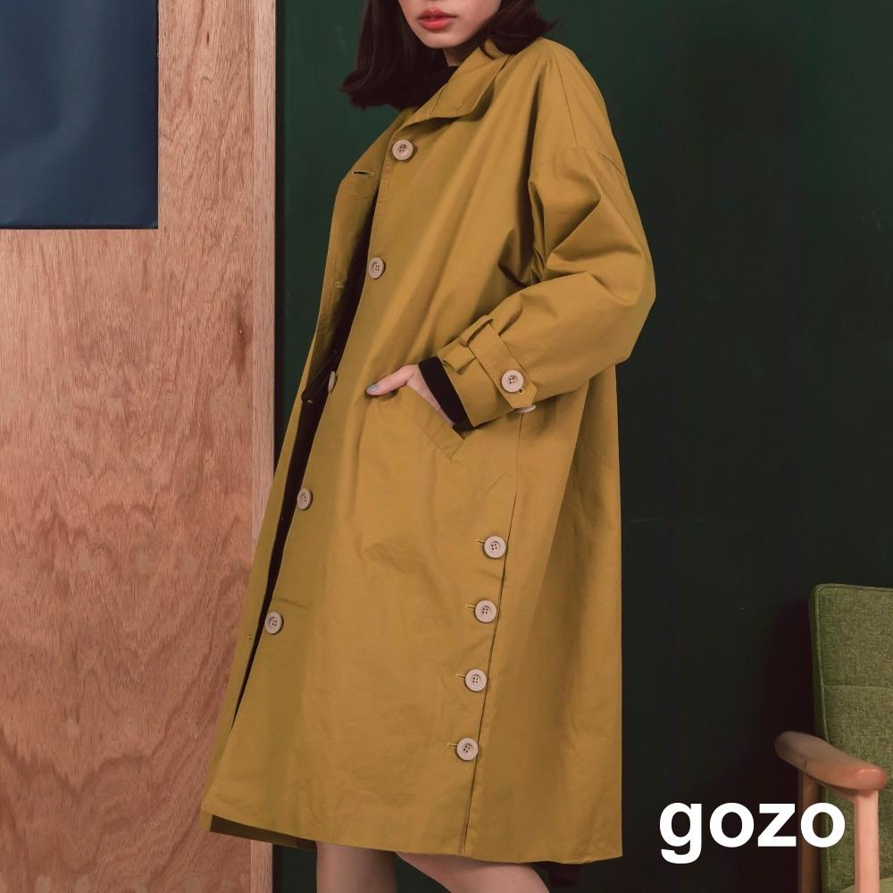 gozo-簡約寬版雙邊排扣長風衣(兩色)