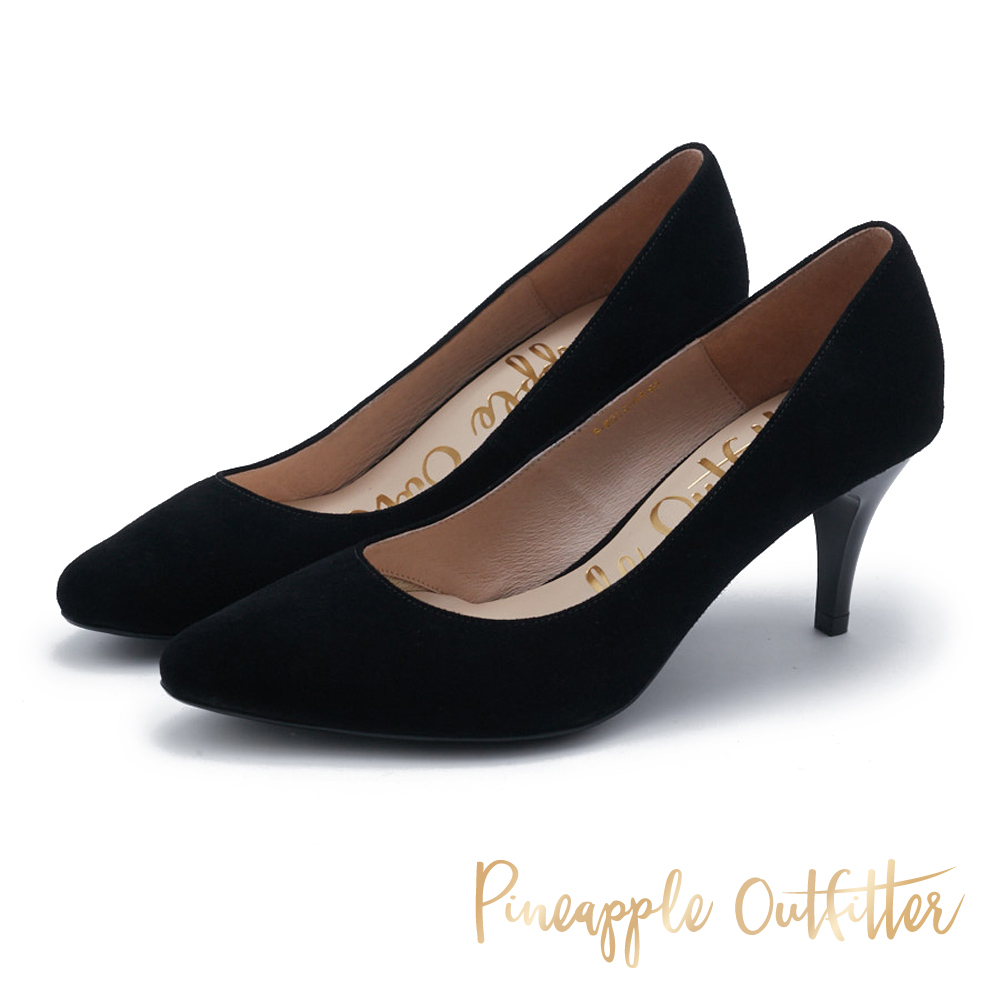 Pineapple Outfitter 簡約風尚 素面尖頭高跟鞋-絨黑