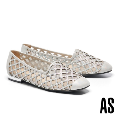 平底鞋 AS 晶鑽珍珠菱格鏤空金屬羊皮方頭平底鞋-銀