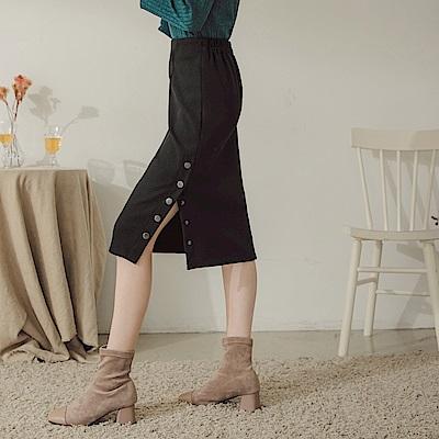 純色毛呢可開式側排釦中長包裙-OB大尺碼
