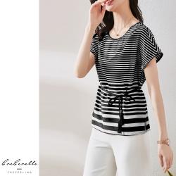 2F韓衣-韓系氣質條紋綁繩造型上衣-條紋-(M-2XL)