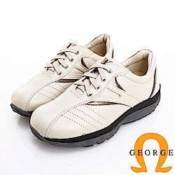 GEORGE 喬治皮鞋 氣墊系列 牛皮綁帶氣墊休閒鞋-米色