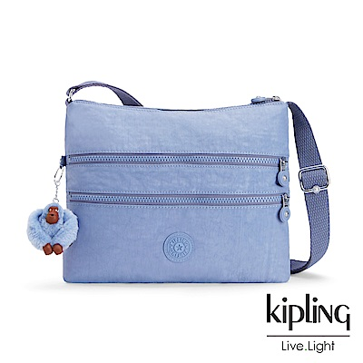 Kipling 溫柔粉藍收納多夾層側背包-ALVAR S