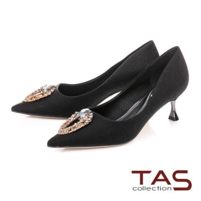 TAS立體鑽釦飾片尖頭高跟鞋-焦點黑