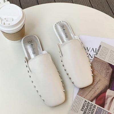 韓國KW美鞋館 復古風情素面金屬平底穆勒鞋-白