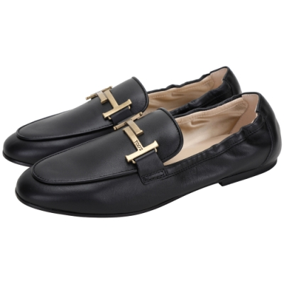 TOD'S Timeless T字銅金釦飾牛皮莫卡辛鞋(黑色)