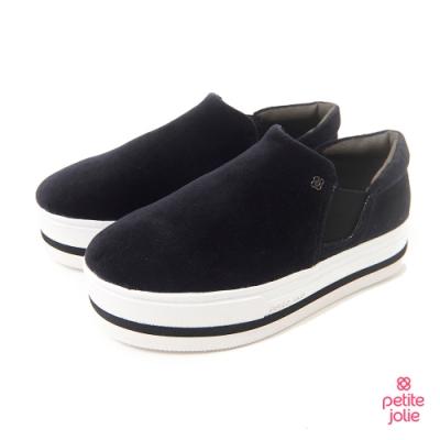 Petite Jolie--亮面飾邊厚底休閒鞋-黑色