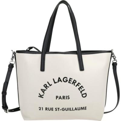 KARL LAGERFELD Rue St Guillaume 牛皮肩背/斜背托特包(榛木色)