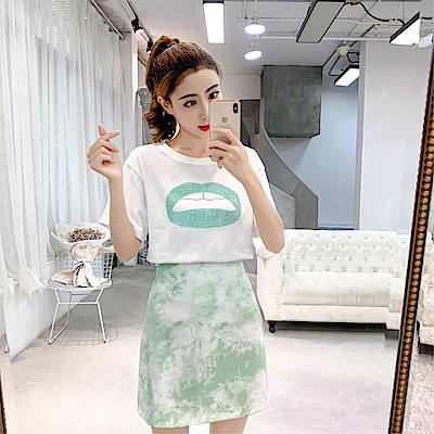 DABI 韓系圓領印花T恤包臀半身裙套裝短袖裙裝