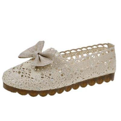 KEITH-WILL時尚鞋館 日本設計蝴蝶結森系簍空平底鞋-米