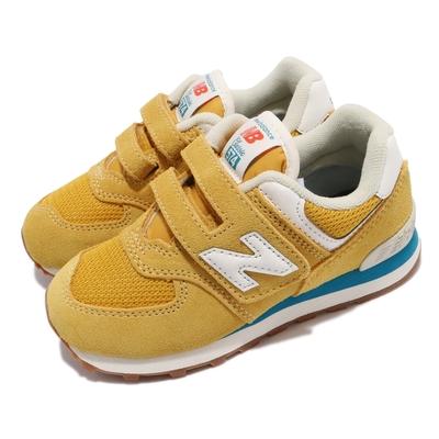 New Balance 休閒鞋 574 W Wide 寬楦 童鞋 紐巴倫 魔鬼氈 麂皮 郊遊 中童 黃 白 PV574HB2W