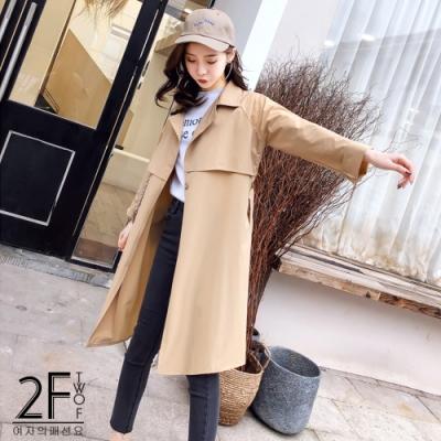 2F韓衣-時尚經典氣質百搭修身風衣2款
