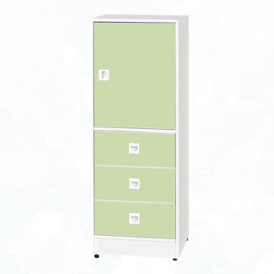 文創集 安倍 環保1.5尺南亞塑鋼三抽單門置物櫃/收納櫃-43.5x40x116cm免組
