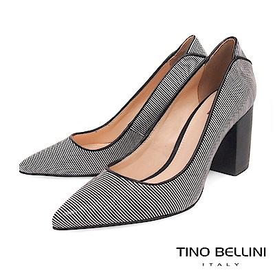 Tino Bellini 巴西進口蛇紋佐雙色條紋尖頭跟鞋 _ 黑