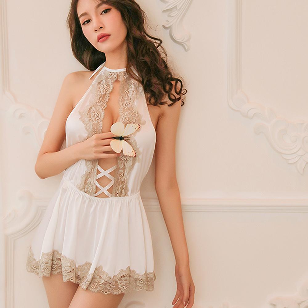 性感睡衣 皇室華麗綢緞睡衣 EM衣柔魅姬(白色)