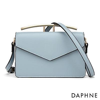 達芙妮DAPHNE-質感金屬造型手提知性信封小方包-藍色