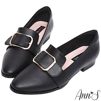 Ann'S韓式文青-金屬圓弧方扣紳士平底鞋-黑