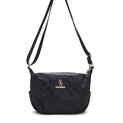 SUNFABLE-米蘭假期x品牌印花簡約側背小包-可可黑
