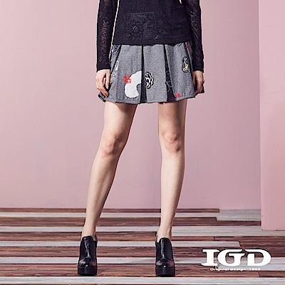 IGD英格麗 細緻立體刺繡60%羊毛百摺短裙