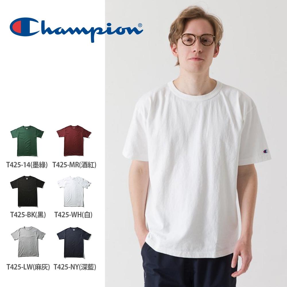 Champion美線經典T425電繡Logo素面短T(6色)
