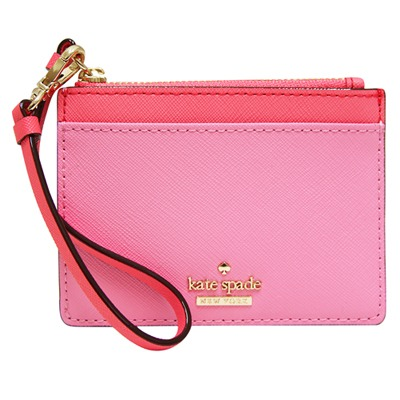 Kate spade Mellody 雙色防刮牛皮手拿鑰匙/零錢包-粉紅色