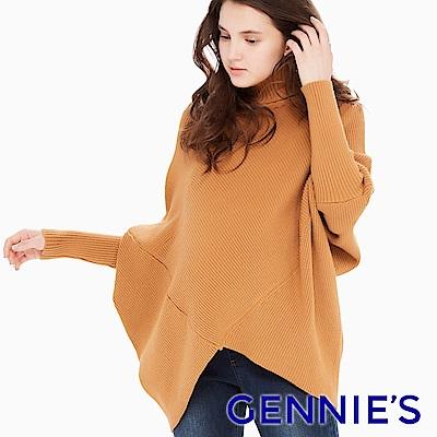 Gennies專櫃-菱形設計厚針織連袖縮口長上衣(CSE02)二色可選