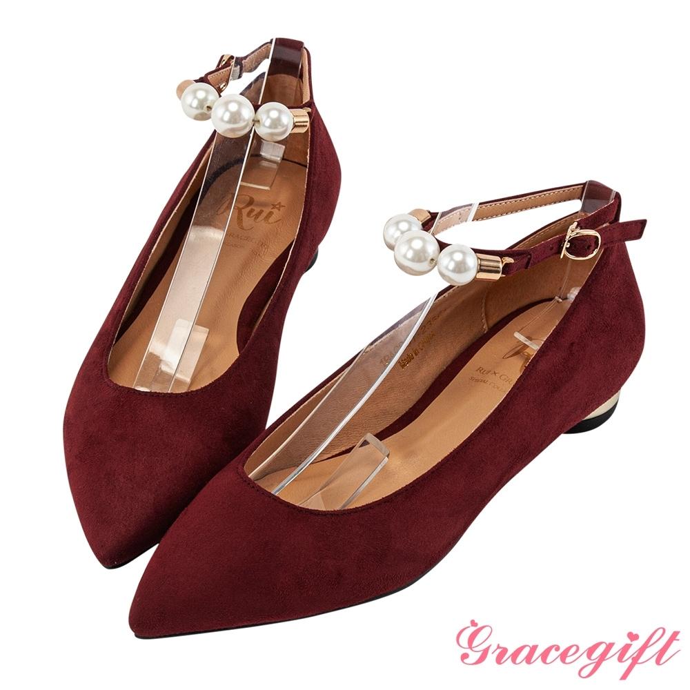 Grace gift X Rui-聯名珍珠踝帶2WAY平底鞋 酒紅