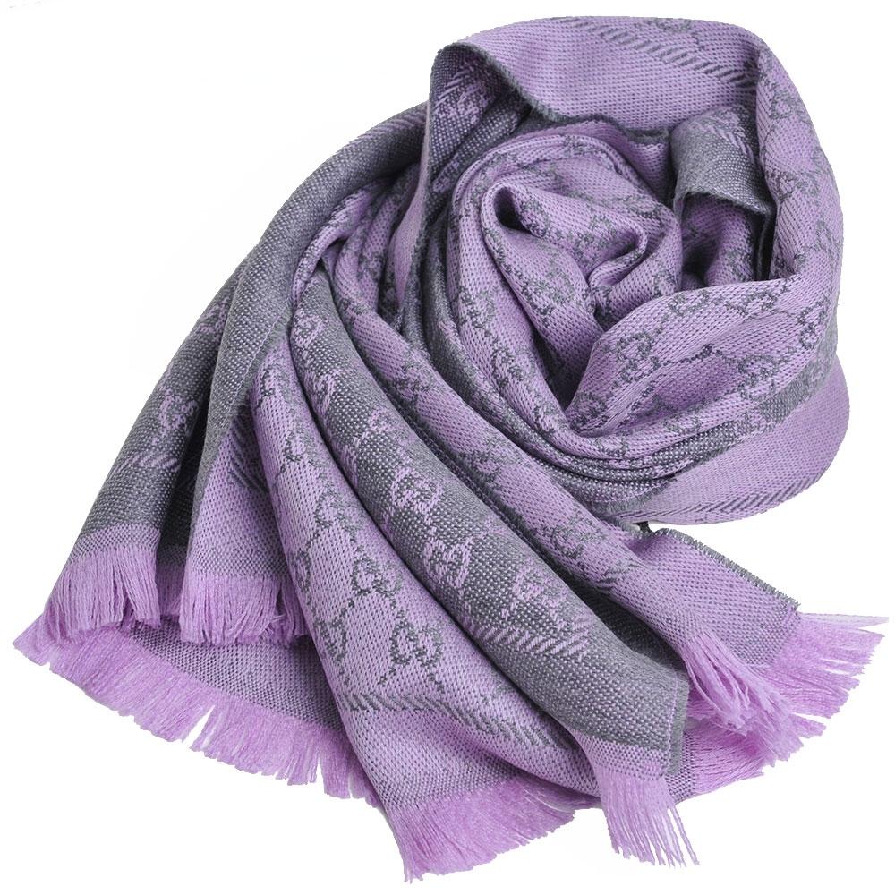 GUCCI SC NEW STEN GG LOGO羊毛雙面寬版披肩/圍巾(灰/淺紫)