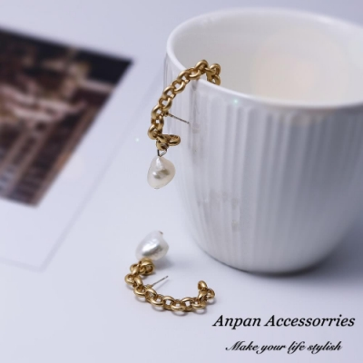【Anpan 愛扮】韓東大門金屬半圓鍊條珍珠925銀針耳釘式耳環