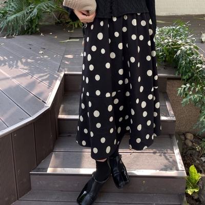 La Belleza復古減齡斜紋絨面拼色波點半身裙鬆緊腰大擺裙