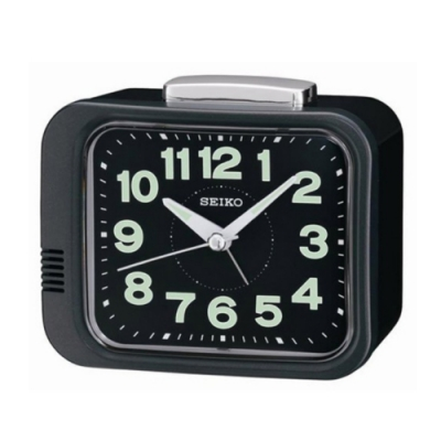 SEIKO 日本精工 夜光 滑動式秒針 響鈴鬧鐘(QHK028J)黑/9.4X11cm
