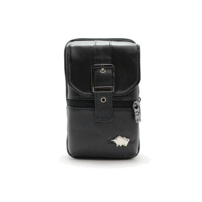 DRAKA 達卡 -匠心獨具系列-斜背腰包/牛皮小方包-設計黑