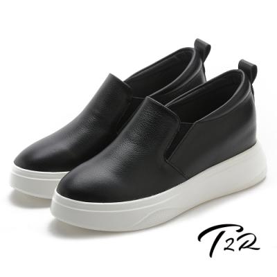 T2R-正韓空運-增高鞋真皮防滑內增高厚底樂福鞋-7.5cm-黑