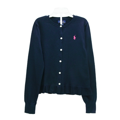 Ralph Lauren 女童小馬下襬荷葉針織外套-深藍色XL(16)