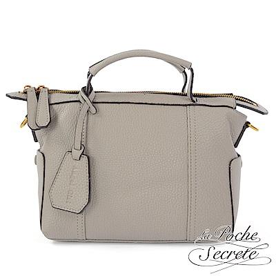La Poche Secrete側背包 簡約真皮素面荔枝紋手提側背包-自信灰