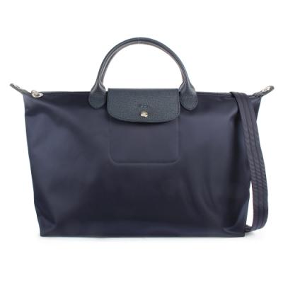 Longchamp Le Pliage Neo 短提把大型水餃兩用包-海軍藍
