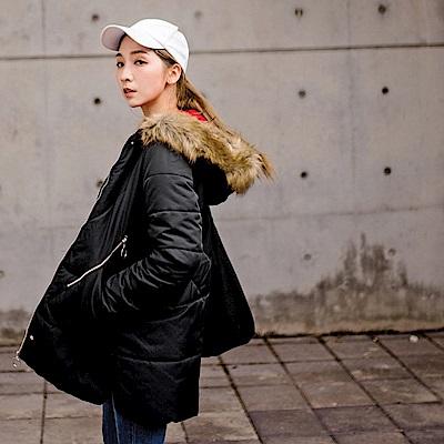 韓風蓬鬆毛領杜邦科技棉保暖壓線修身連帽外套-OB大尺碼